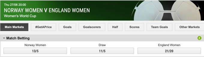 Norway Women v England Women World Cup Main Bet Example