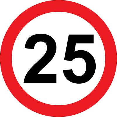 25 Limit Road Sign