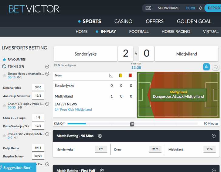 BetVictor Live Betting Screenshot