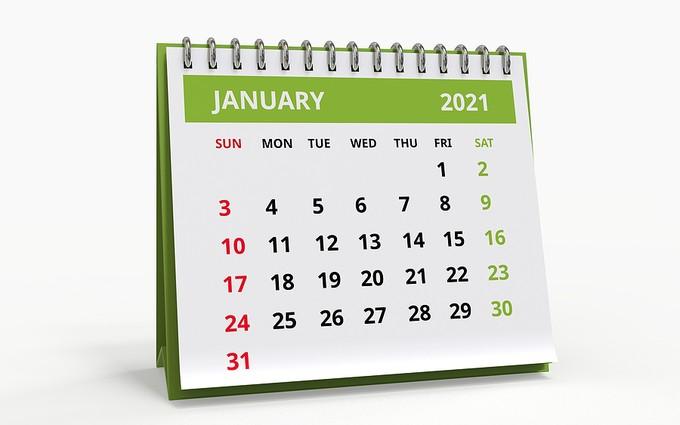 January 2021 Desktop Calendar