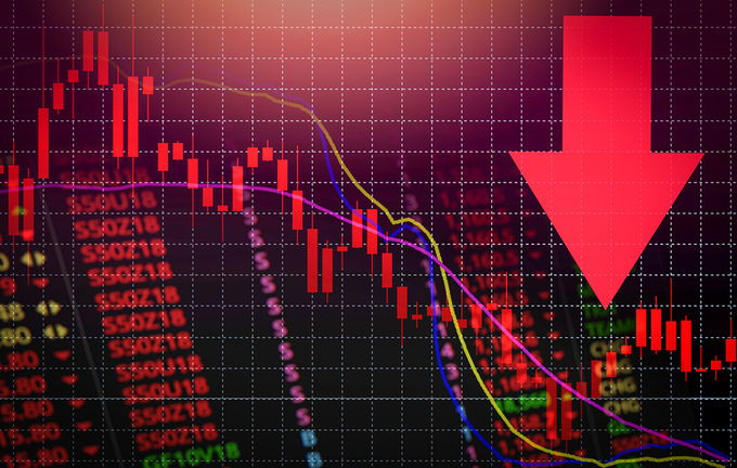 Red Arrow Showing Stock Price Crisis