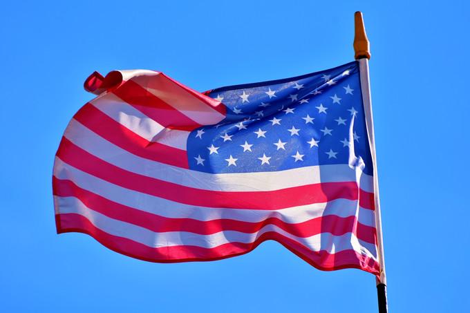 USA Flag Against Blue Sky