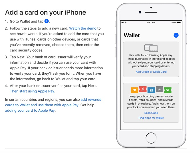 Adding a card to Apple Pay on your iPhone