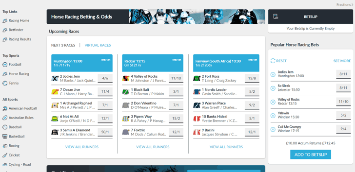 BetVictor horse racing screenshot
