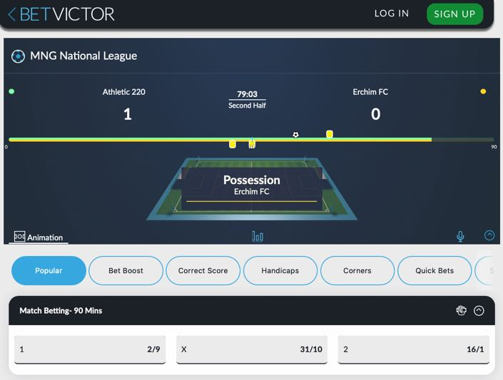 BetVictor In Play