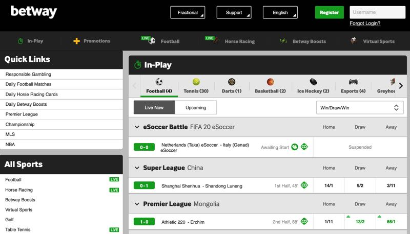 Betway homescreen