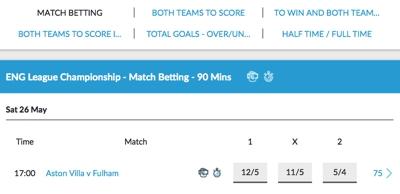 Aston Villa v Fulham Odds