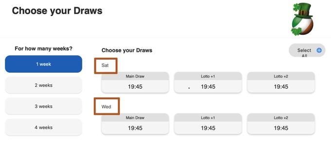 Irish Lottery on Wednesdays and Saturdays