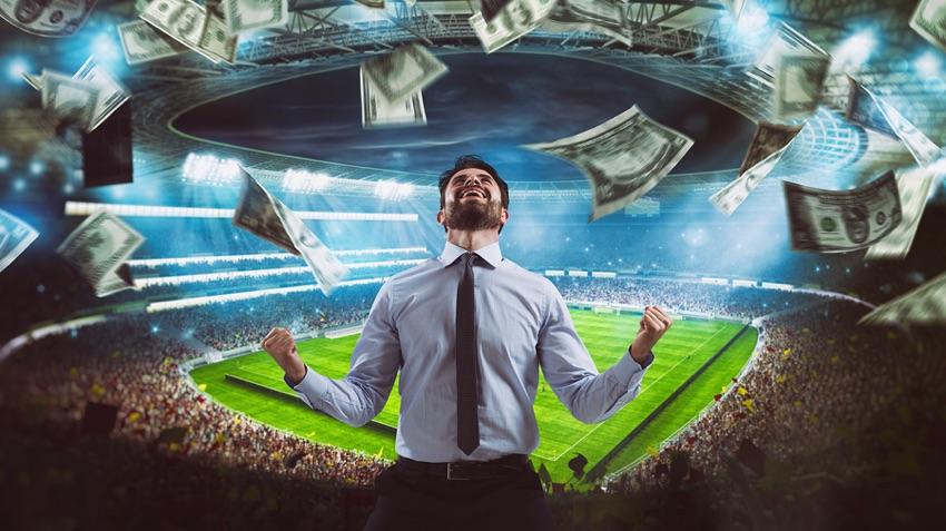Man rejoicing at stadium