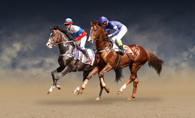 Dead Heat: Two horses neck to neck