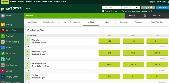 Paddy Power In Play Betting