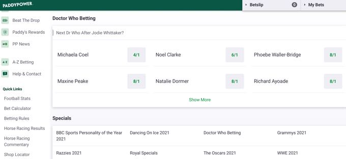Paddypower Novelty Bets: TV & Specials
