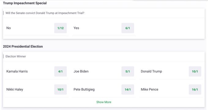 Paddypower Politics & Elections Bets