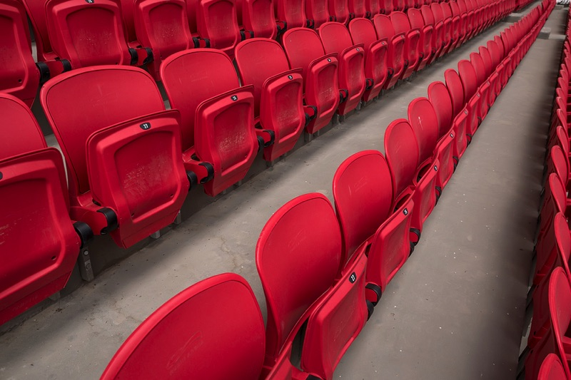Red seats at a stadium