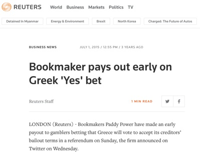 Reuters Greek Yes Early Payout