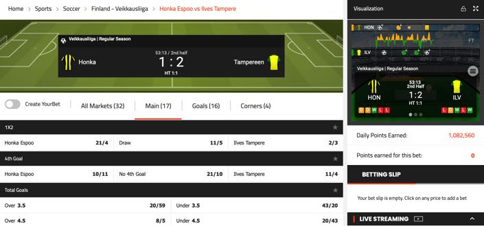 SportNation InPlay feature