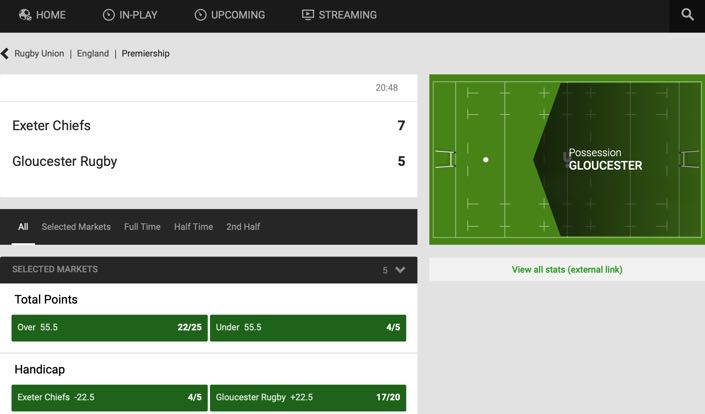 Unibet In Play feature